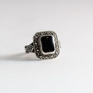 JUDITH JACK Sterling Marcasite & Onyx Ring 5